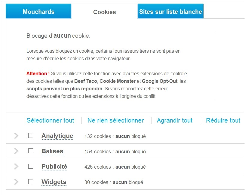 Options de Ghostery