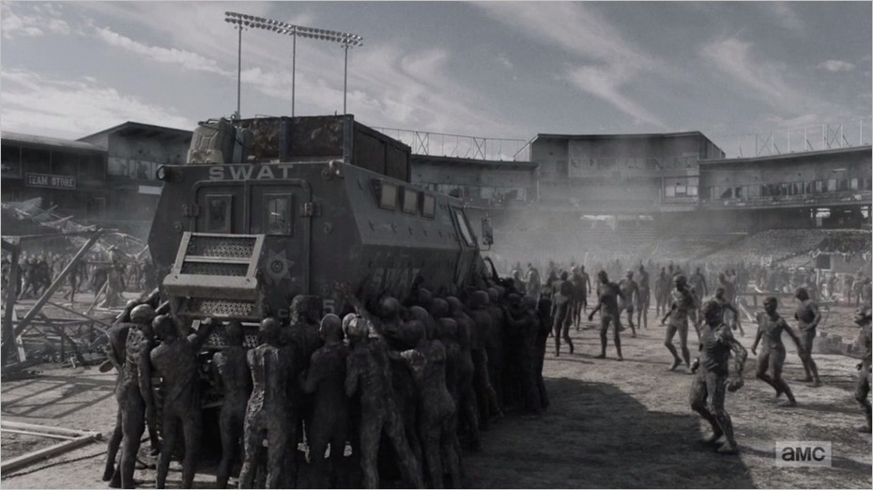 Les infectés brûlés dans le stade