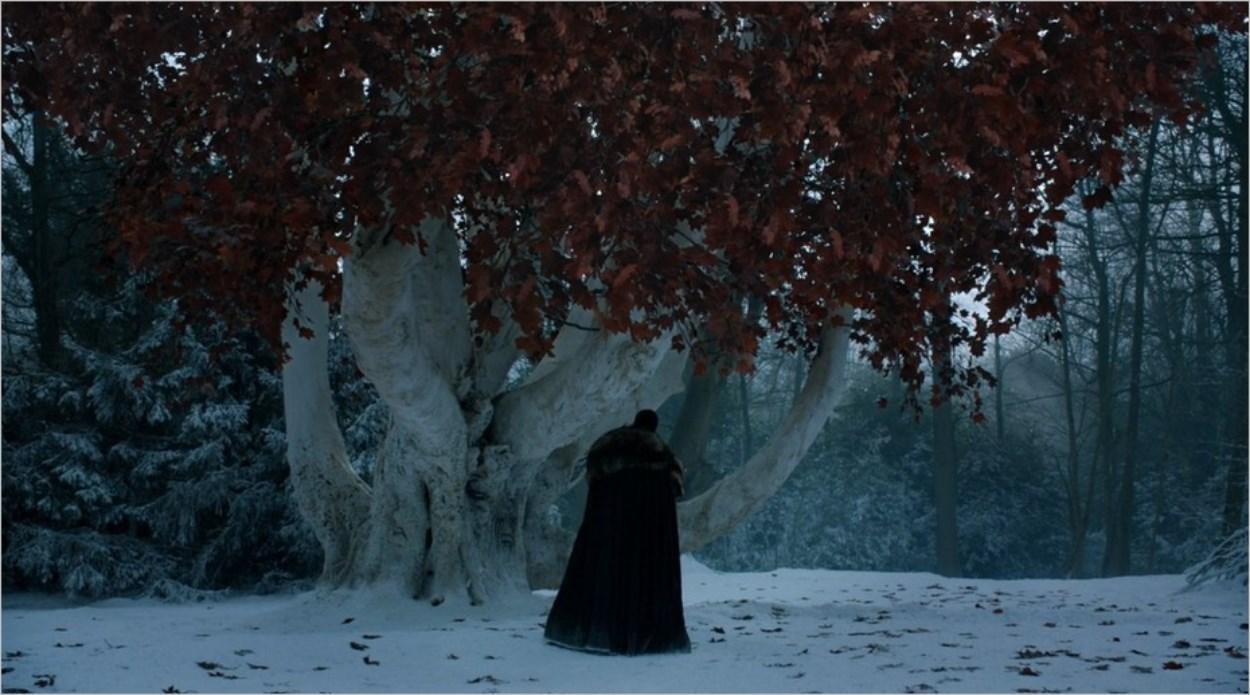 Jon Snow auprès de l'arbre sacré de Winterfell - Saison 8 épisode 1