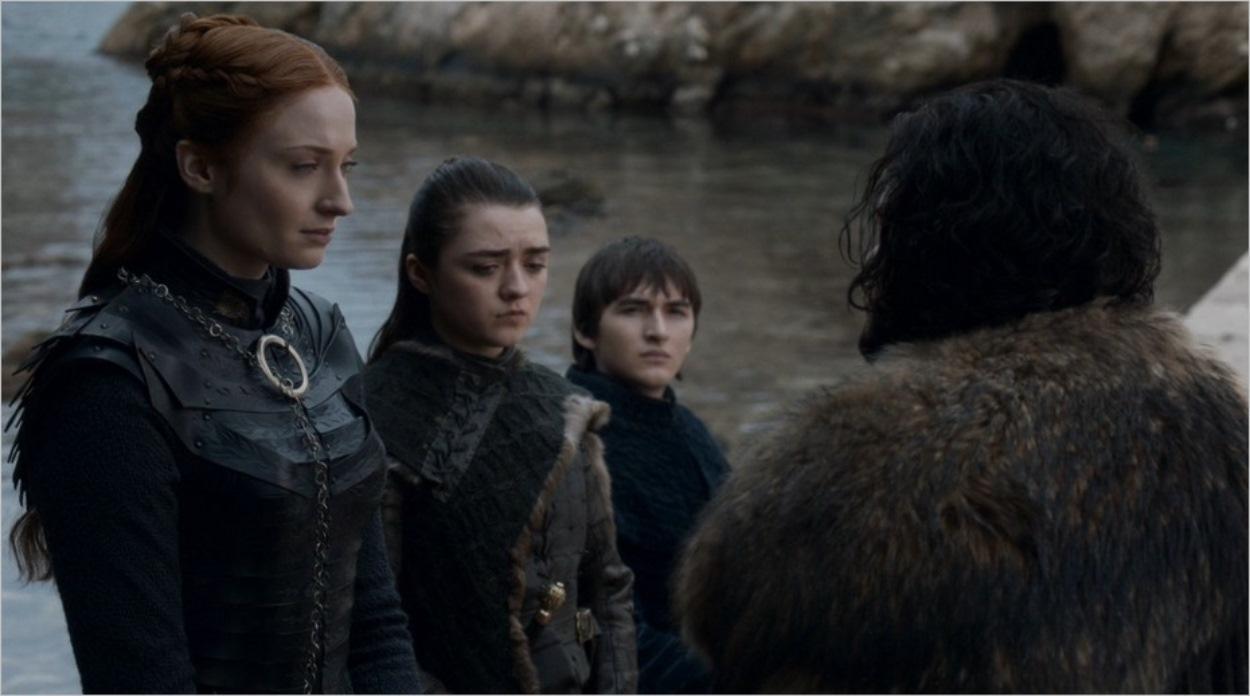 Jon fait ses adieux à Sansa, Arya et Bran Stark
